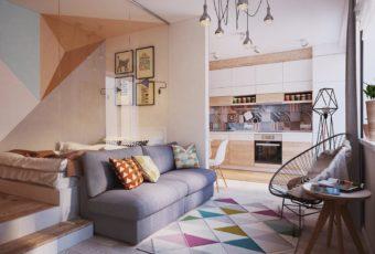 Современный дизайн однокомнатной квартиры 40 кв. м. с фото