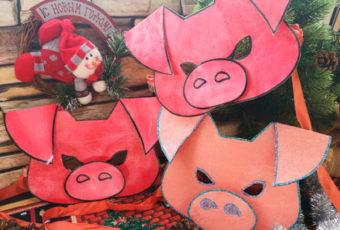 Открытки на Новый год 2019 своими руками с символом года Свинья