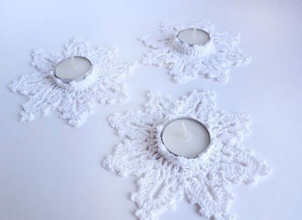 Снежинка-подсвечник и снежинка подставка