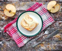Воздушная творожная запеканка с яблоками
