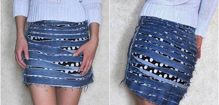Как из старых джинс сделать юбку своими руками