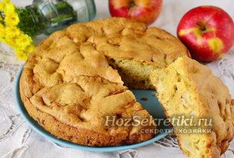 Ленивая шарлотка с яблоками – простой и быстрый рецепт