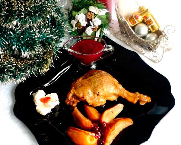 Рождественские медовые утиные ножки с айвой