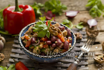 """Салат """"Тбилиси"""" с красной фасолью и говядиной"""