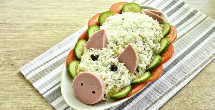 Салат в виде свиньи на Новый год 2019: пошаговые рецепты с фото
