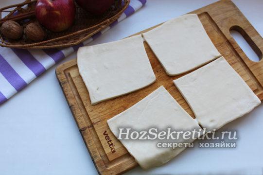 разморозить и разрезать тесто