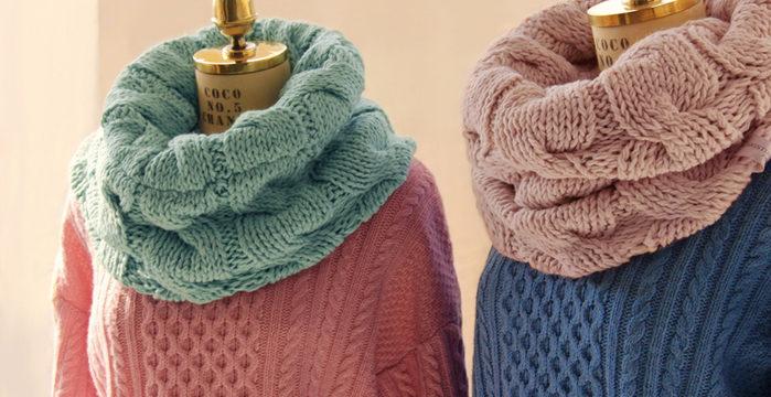 Как связать снуд хомут, круговой шарф спицами: схема