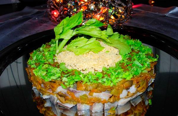 Сельдь с грибами Новогодний каприз