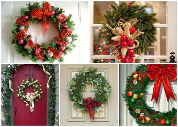 Новогодний декор на двери