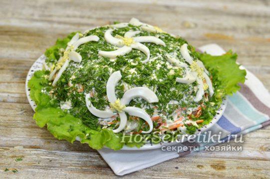 украсить салат ромашками из яиц