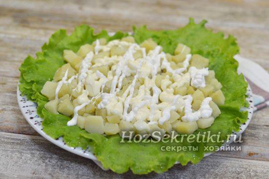 слой картофеля смазать майонезом