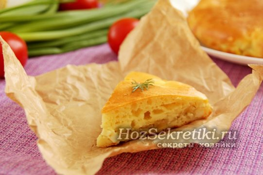 минутный пирог из капусты готов