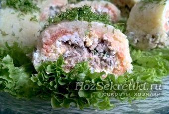 Красивый и вкусный салат-рулет «Карнавал»