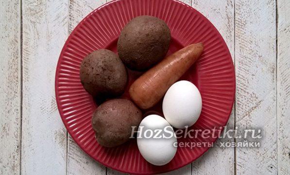 отварить овощи и яйца