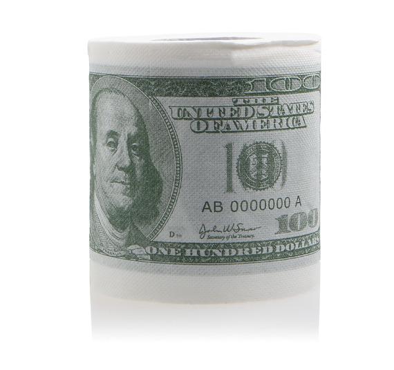 туалетная бумага в виде долларов